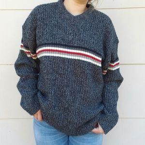 Vintage V neck striped chunky knit sweater